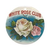 White Rose antique label Ornament (Round)
