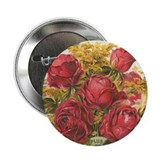 "Red Rose Bouquet antique labe 2.25"" Button"