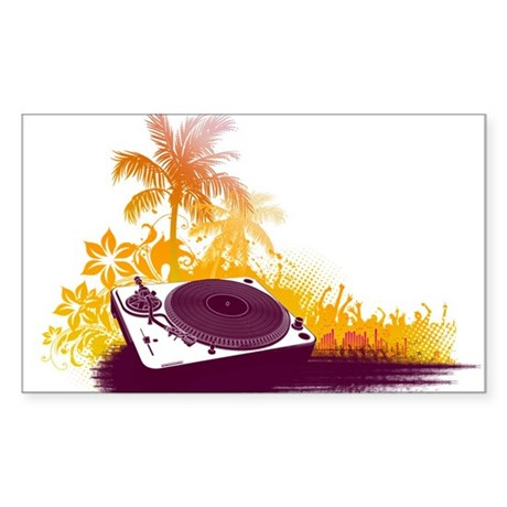 Turntable Beach Sticker (Rectangle)