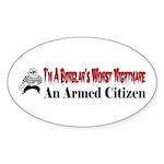 Burglar's Worst Nighmare Sticker (Oval 50 pk)