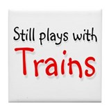 Still plays with Trains Tile Coaster