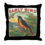 Robin Early Bird vintage label Throw Pillow