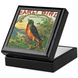 Robin Early Bird vintage label Keepsake Box