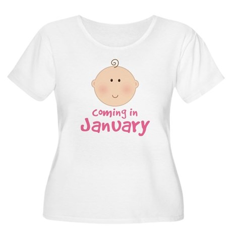 Baby Coming In January Women's Plus Size Scoop Nec
