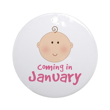 Baby Coming In January Ornament (Round)