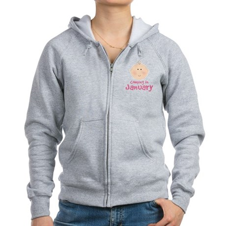 Baby Coming In January Women's Zip Hoodie