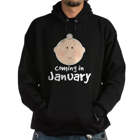 Baby Coming In January Hoodie (dark)