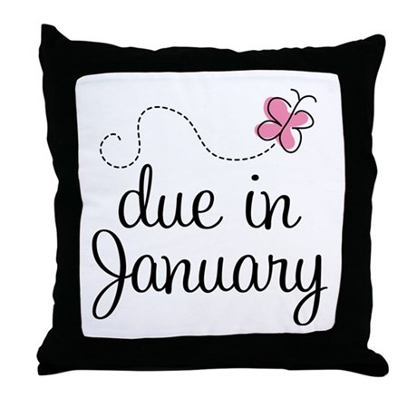 Due In January Throw Pillow