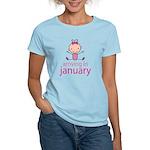 Stick Figure Baby January Due Date Women's Light T