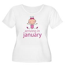 Stick Figure Baby January Due Date T-Shirt