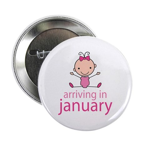 """Stick Figure Baby January Due Date 2.25"""" Button"""