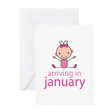 Stick Figure Baby January Due Date Greeting Card