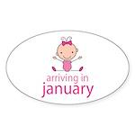 Stick Figure Baby January Due Date Sticker (Oval)