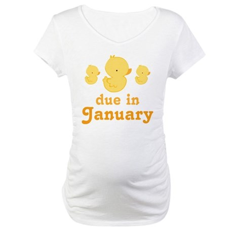 Baby Duck January Maternity Date Maternity T-Shirt