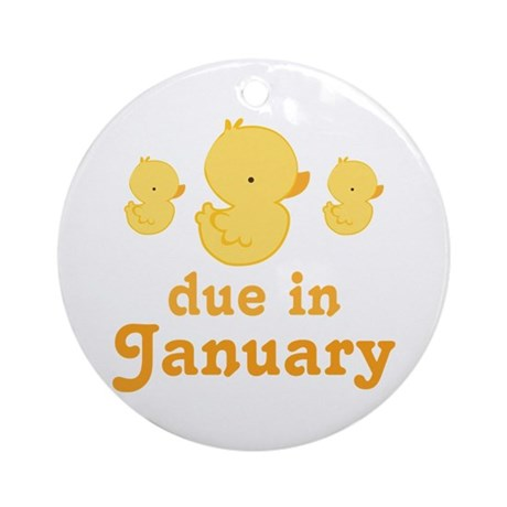 Baby Duck January Maternity Date Ornament (Round)