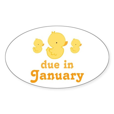 Baby Duck January Maternity Date Sticker (Oval)