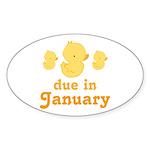 Baby Duck January Maternity Date Sticker (Oval)