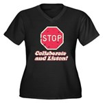 STOP! Women's Plus Size V-Neck Dark T-Shirt