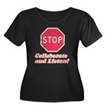 STOP! Women's Plus Size Scoop Neck Dark T-Shirt