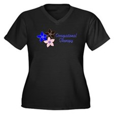 Pink blue and brown Women's Plus Size V-Neck Dark