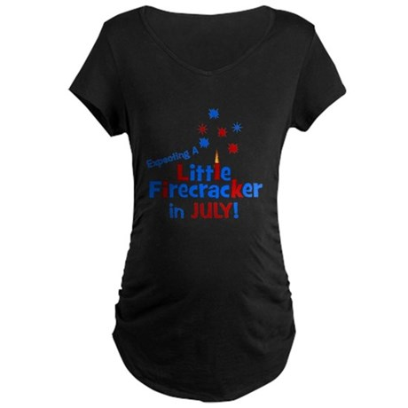 Little Firecracker in July. Maternity Dark T-Shirt