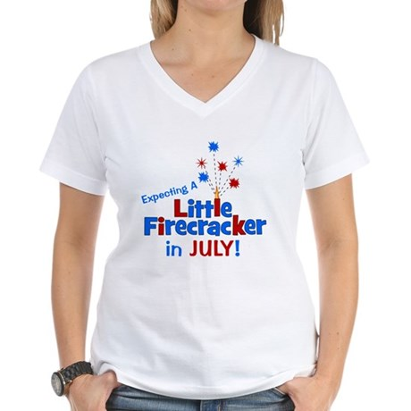Little Firecracker in July. Women's V-Neck T-Shirt