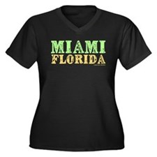 Miami Florida Women's Plus Size V-Neck Dark T-Shir