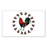 Rooster Circle Sticker (Rectangle 50 pk)