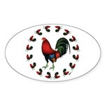 Rooster Circle Sticker (Oval 10 pk)