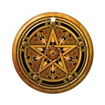 Gold Pagan Pentacle Ornament (Round)