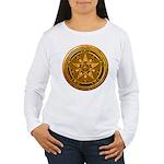 Gold Pagan Pentacle Women's Long Sleeve T-Shirt