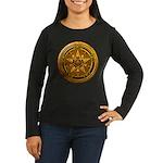 Gold Pagan Pentacle Women's Long Sleeve Dark T-Shi