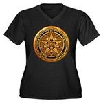 Gold Pagan Pentacle Women's Plus Size V-Neck Dark
