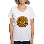Gold Pagan Pentacle Women's V-Neck T-Shirt