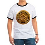 Gold Pagan Pentacle Ringer T