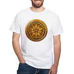 Gold Pagan Pentacle White T-Shirt