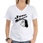Jesus Shaves Women's V-Neck T-Shirt
