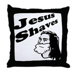Jesus Shaves Throw Pillow