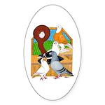 Five Pigeons Oval Sticker