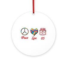 Cute Happy sixty fifth birthday Ornament (Round)