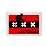 Amsterdam Cycling Male Rectangle Magnet