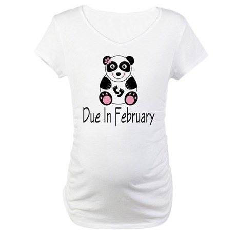Panda February Due Date Maternity T-Shirt