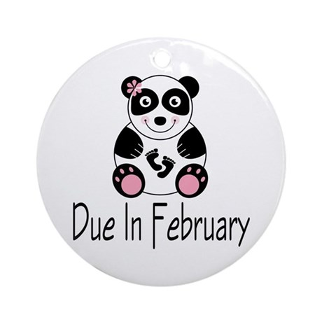 Panda February Due Date Ornament (Round)