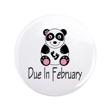 "Panda February Due Date 3.5"" Button"