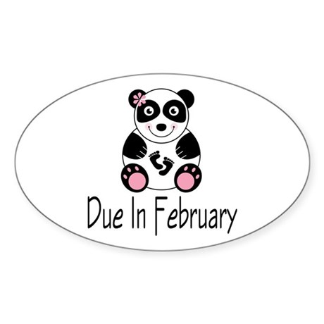 Panda February Due Date Sticker (Oval)