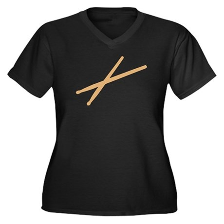 Drums - Drumsticks Women's Plus Size V-Neck Dark T