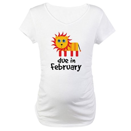 Lion Due In February Baby Maternity T-Shirt
