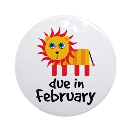 Lion Due In February Baby Ornament (Round)