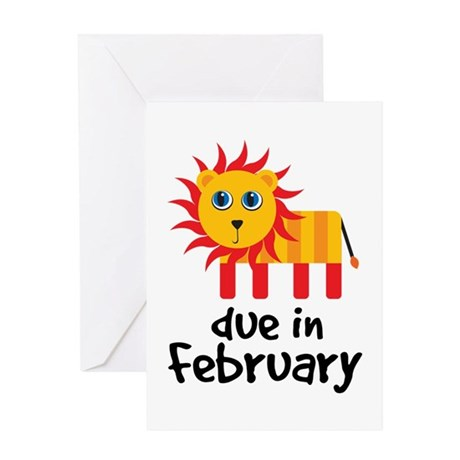 Lion Due In February Baby Greeting Card