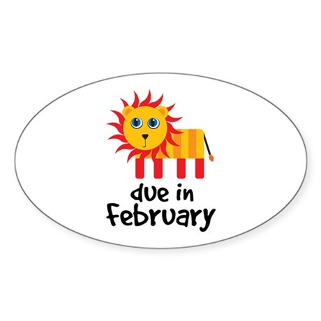 Lion Due In February Baby Sticker (Oval 10 pk)